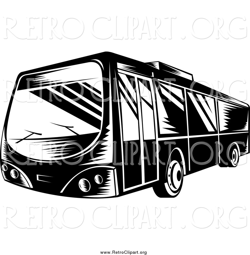 1024x1044 Clipart Of A Retro Black And White Bus By Patrimonio
