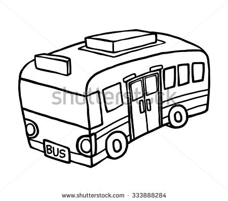 450x398 Drawn Bus Black And White