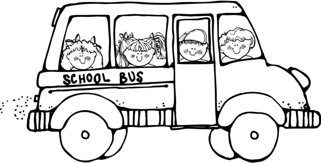 1024x520 Free School Bus Clipart Black And White Image