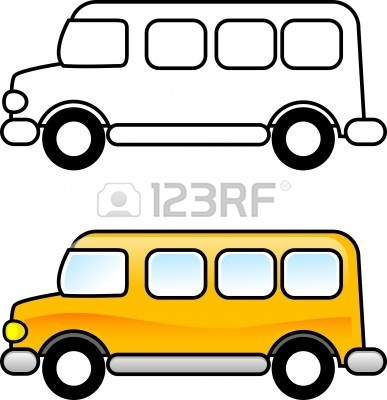 387x400 School Bus Black And White Clipart