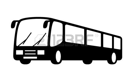 450x272 Black Isolated Bus Silhouette On White Background Royalty Free