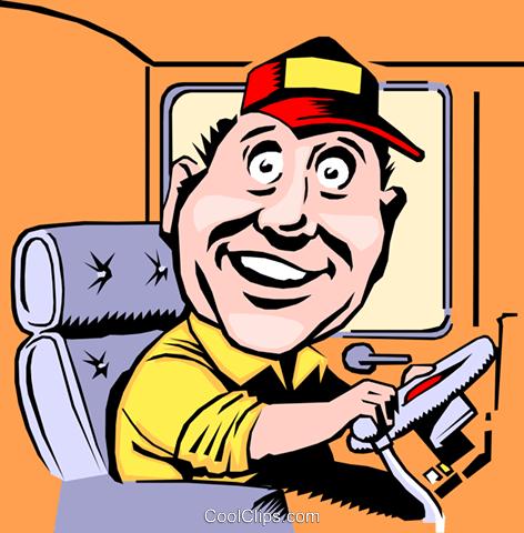 472x480 Cartoon Bus Driver Royalty Free Vector Clip Art Illustration