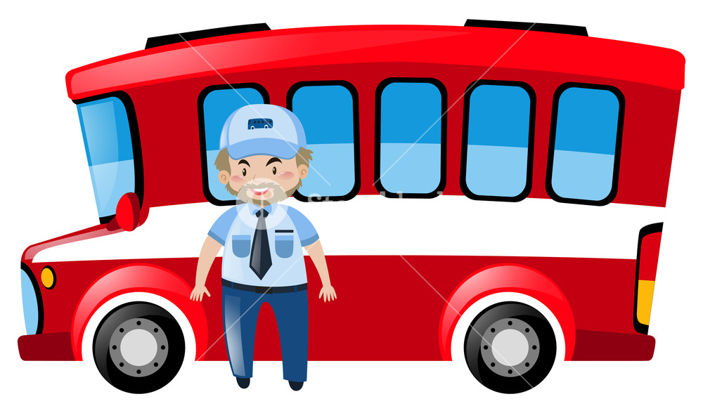 1000x588 Bus Driver And Red Bus Illustration Royalty Free Stock Image