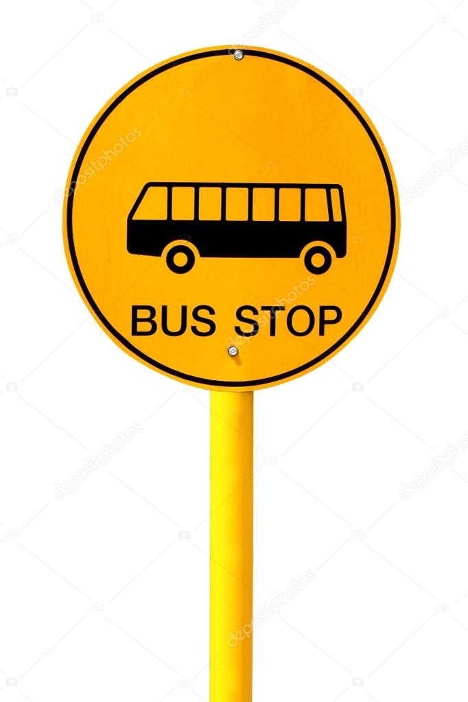 682x1023 Bus Stop Sign On White Background Stock Photo Panupong1982
