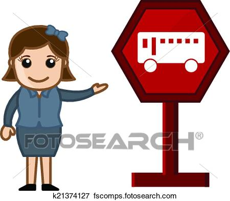 450x393 Clip Art Of Girl Presenting Bus Stop Signboard K21374127