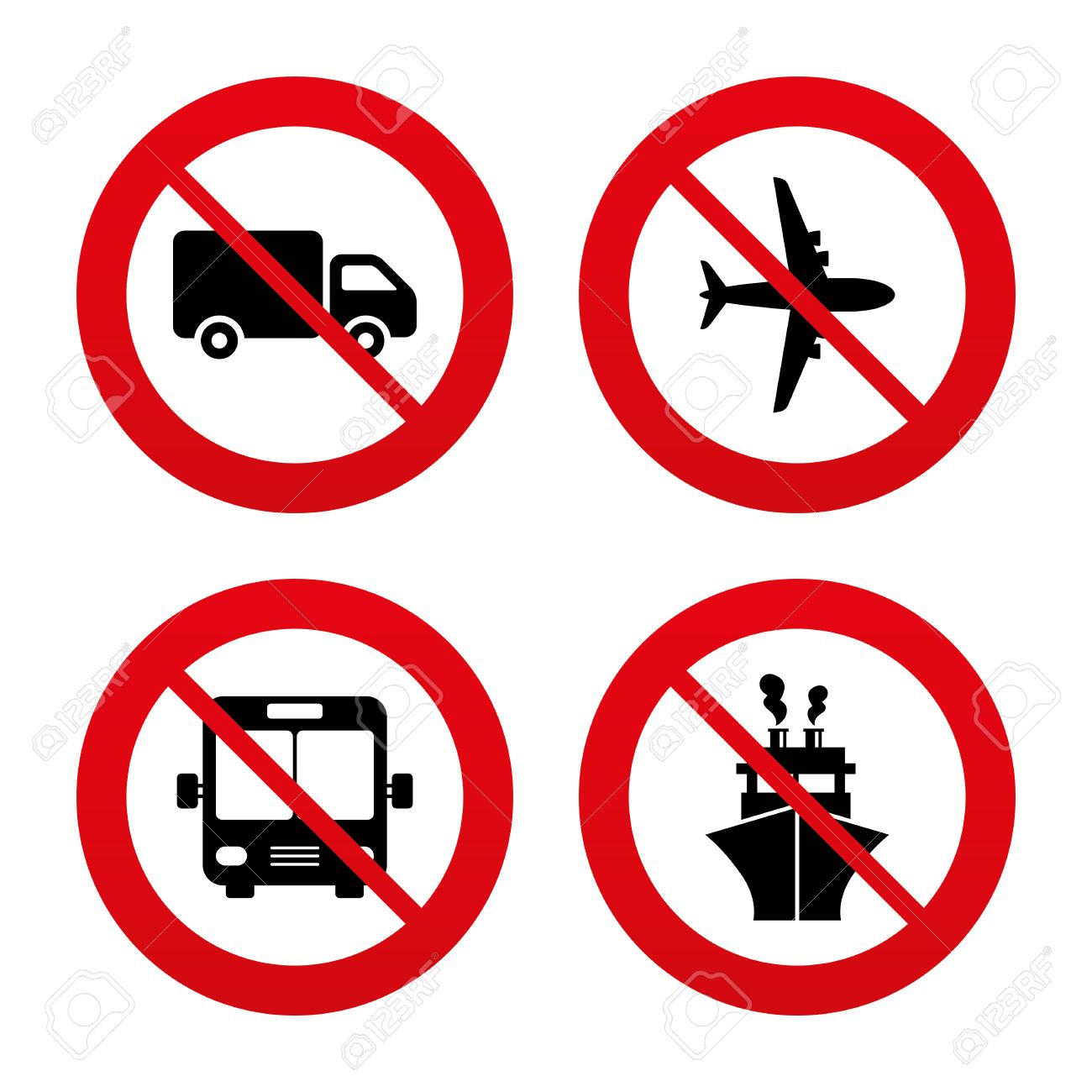 1300x1300 No, Ban Or Stop Signs. Transport Icons. Truck, Airplane, Public