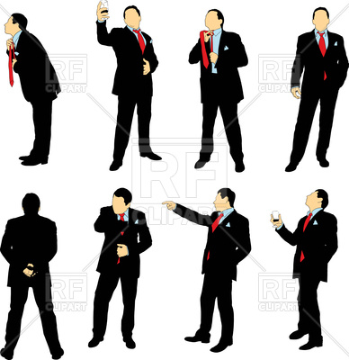 388x400 Silhouettes Of Businessmen In Business Suit Vector Clipart Image