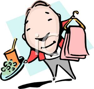 300x285 Butler With A Tray Of Food And Dry Cleaning Clipart Picture