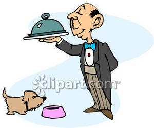 300x249 Clipart Picture Of A Butler Feeding The Dog