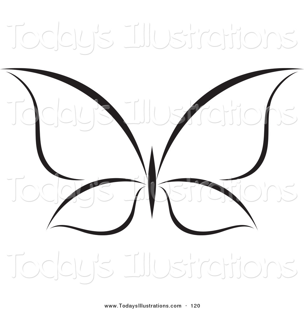 1024x1044 Clipart of a Black and White Butterfly Logo on White by elena