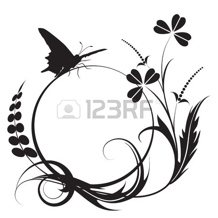 450x450 Floral Background With Butterfly In Black And White Colors Royalty