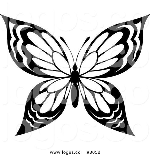 600x620 Royalty Free Clip Art Vector Black and White Butterfly with