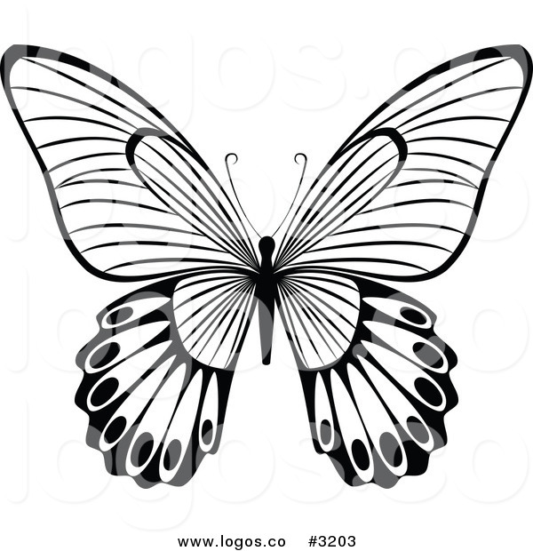600x620 Royalty Free Vector of a Black and White Butterfly Flying Logo by