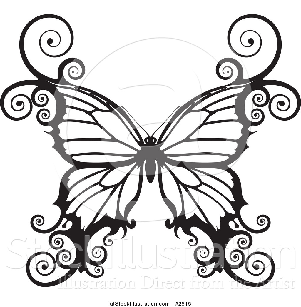 1024x1044 Vector Illustration of a Black and White Swirly Butterfly by