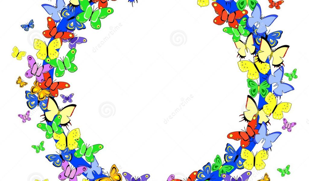 1024x600 Butterfly Border Line Clipart