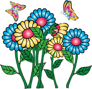 300x290 Clipart Flowers And Butterflies Border