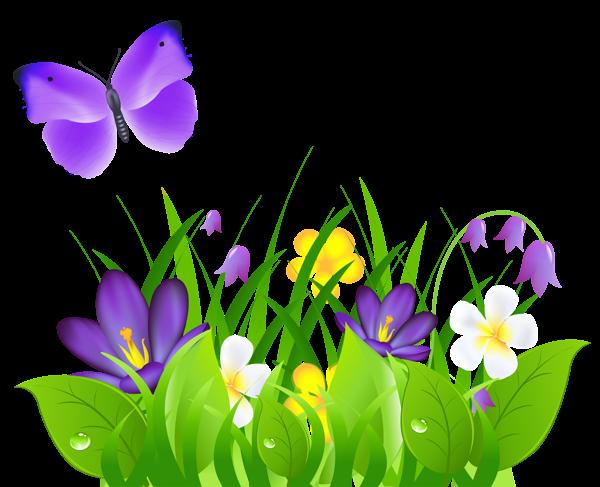 600x487 Purple Flower Clipart Spring Clip Art