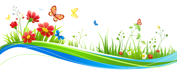600x256 Transparent Decoration With Flowers And Butterflies Png Picture
