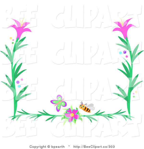 600x620 Vector Clip Art Of A Butterfly, Bee And Pink Flower Border By
