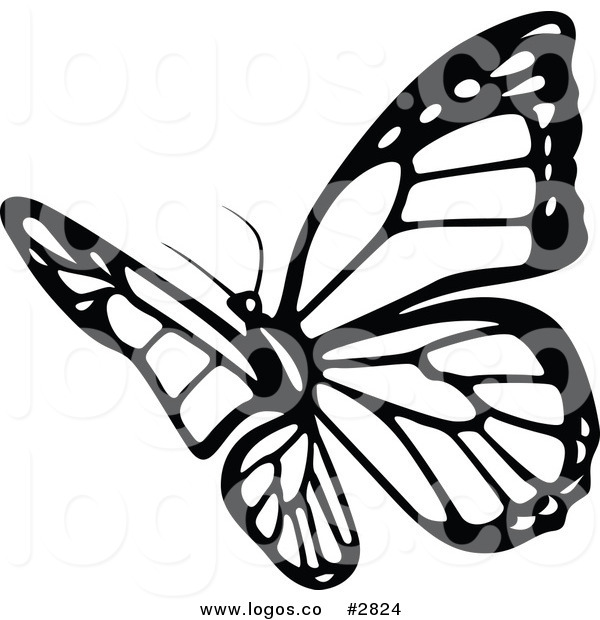 600x620 Royalty Free Black And White Butterfly Logo By Dero