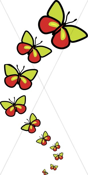 309x612 Row Of Cute Butterflies Butterfly Clipart