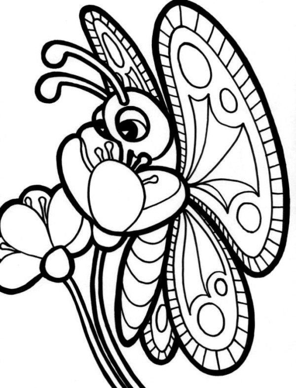 600x787 Flower With Butterfly Coloring Pages