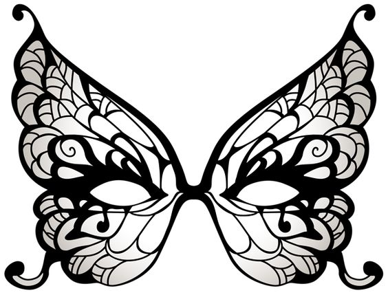 564x429 Butterfly Mask Clipart Black White