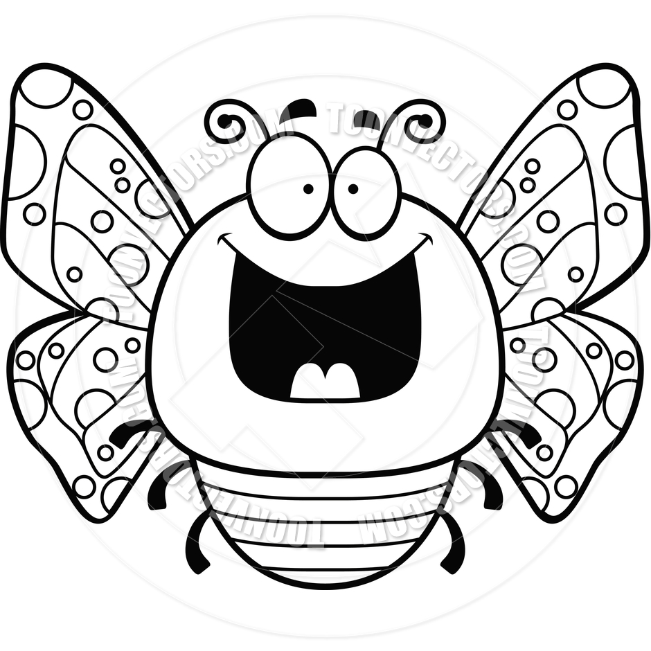 940x940 Cartoon Little Butterfly Happy (Black And White Line Art) By Cory