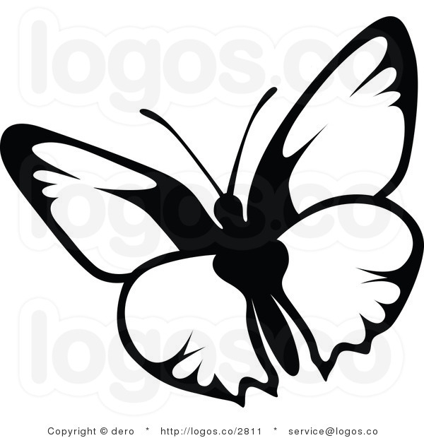600x620 Flying Butterfly Clipart Black And White