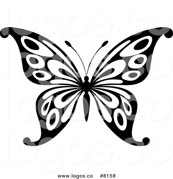 600x620 Royalty Free Vector Of A Black And White Butterfly Logo By Vector