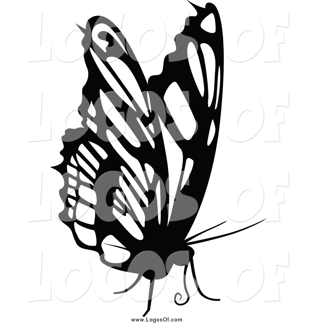 1024x1044 Vector Clipart Of A Black And White Butterfly Logo By Dero