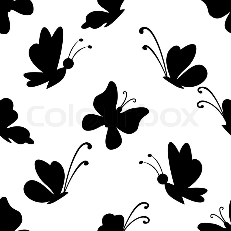 800x800 Butterflies With Open Wings, Black Contour And Monochrome Lilac