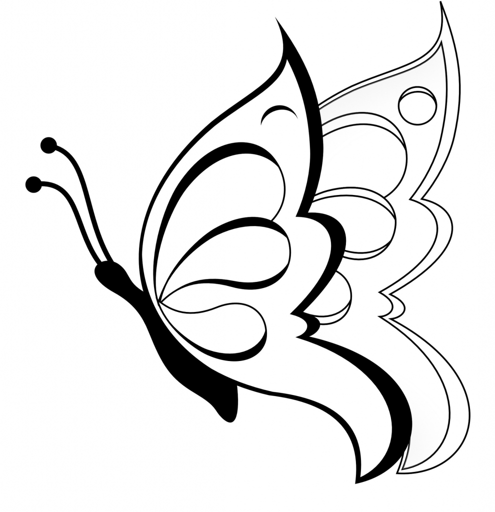 990x1024 Easy Drawing Butterfly Easy Drawings For Kids Butterfly Clipart