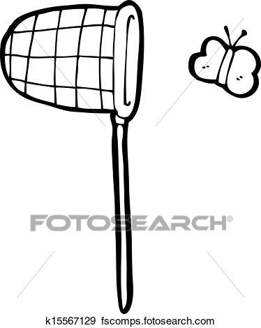 374x470 Clip Art Of Cartoon Butterfly And Net K15567129