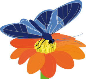 297x273 Blue Butterfly With Flower Clip Art