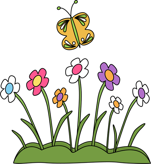 509x550 Butterfly And Flowers Clip Art