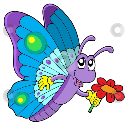450x437 Butterfly And Flower Clipart