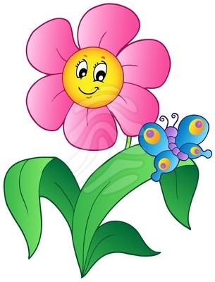 305x400 Butterfly And Flowers Clipart