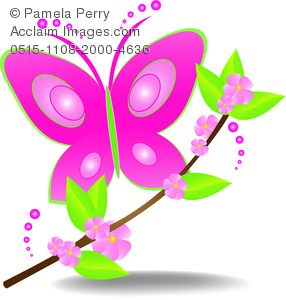 286x300 Cliprt Illustration Of Beautiful Pink Butterfly Landing On