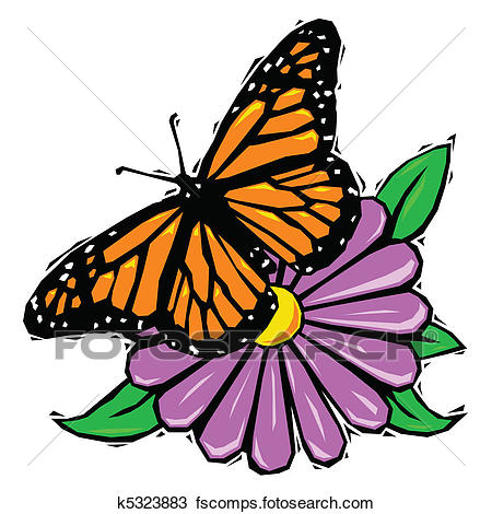 450x470 Clipart Of Woodcut Butterfly On Flower K5323883