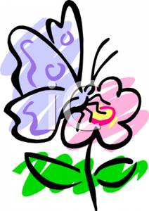 212x300 Art Image A Blue Butterfly On A Pink Flower