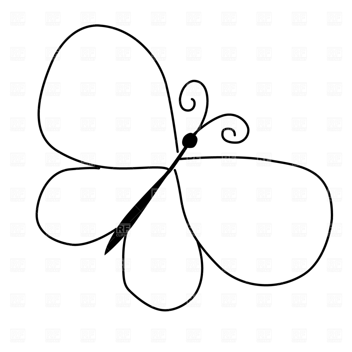 1200x1200 Butterfly Outline Clipart