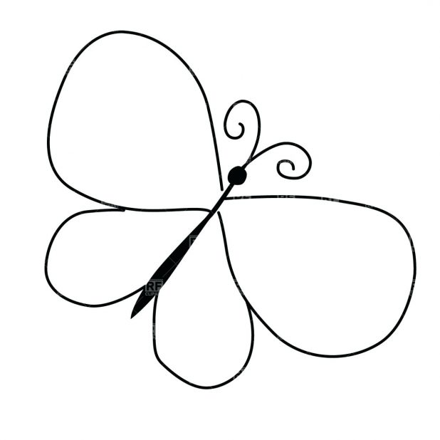 618x618 Pin Drawn Butterfly Wing 5 Clipart Outline Pictures Of Butterflies