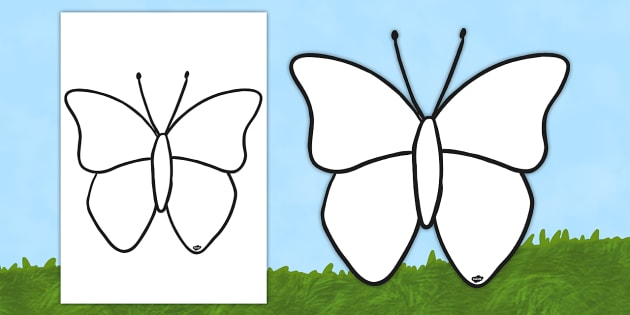 630x315 Butterfly Outline Colouring Sheet