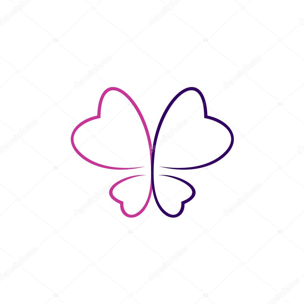 1024x1024 Butterfly outlines logo — Stock Vector © Kilroy