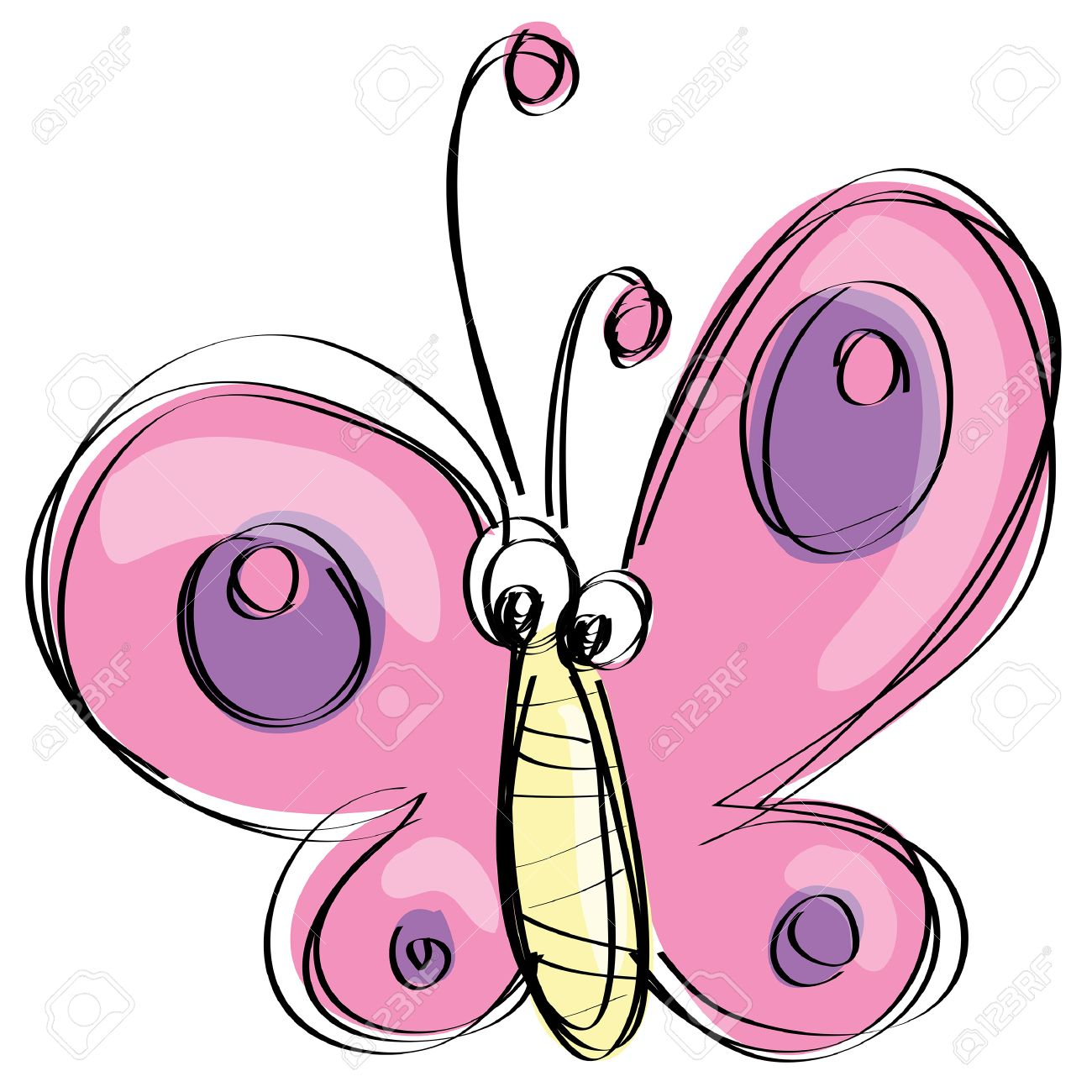 1300x1300 Cute Pink And Purple Butterfly Flying In A Naif Kids Drawings