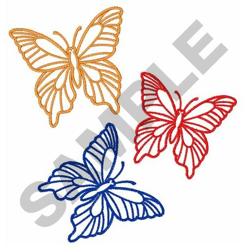 500x500 Outlines Embroidery Design THREE BUTTERFLY OUTLINES from Great