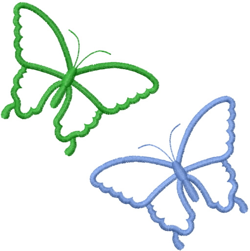 511x512 Two Simple Butterfly Outlines Embroidery Designs, Machine