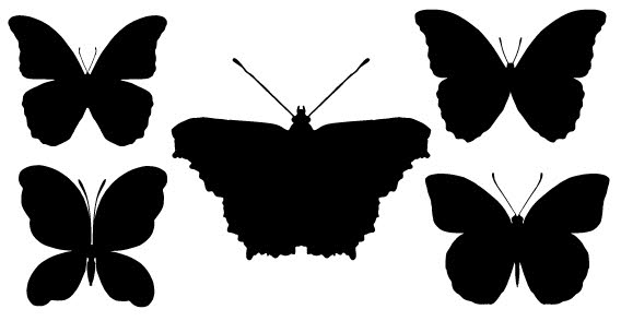 568x294 Butterfly Silhouettes Free Vector