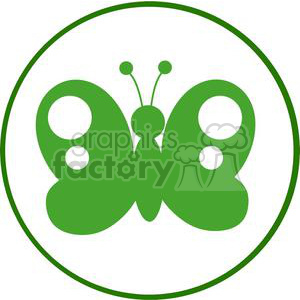 300x300 Royalty Free 4129 Green Butterfly Silhouette In Circle 381951